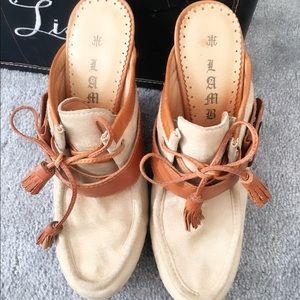 Authentic LAMB Wedge w tussle ties, suede leather